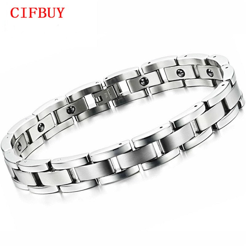 Jewelry Magnet Stone Man Bracelet Classical Stainless Steel Energy Balance Link Chain Bracelets For Men Health Care GS8012