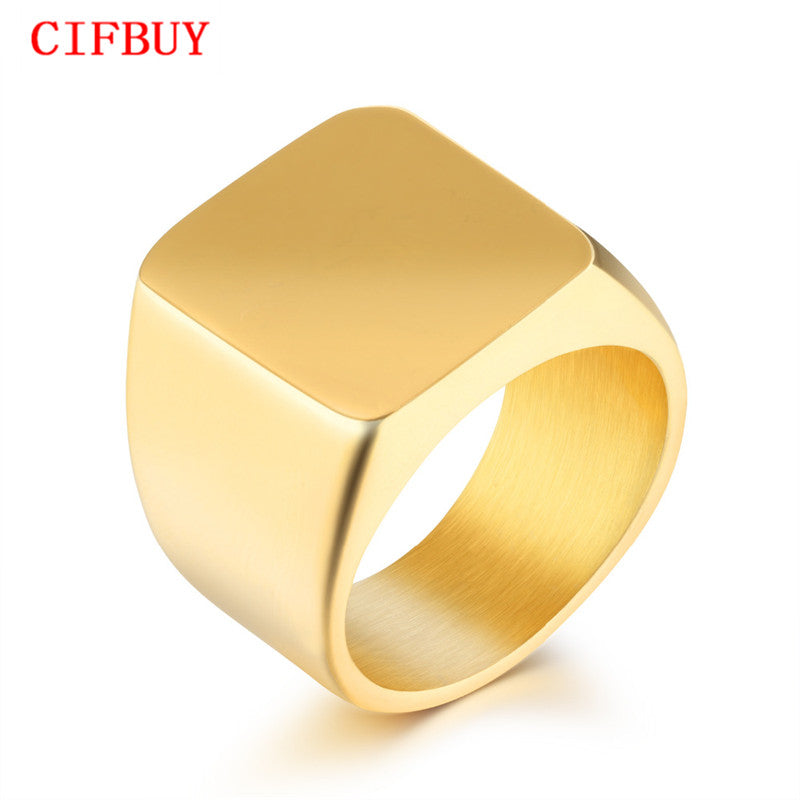 CIFBUY Men's Signet Ring Bold Gold Color/ Black / White High Polished Punk Style Stainless Steel 19 MM Width Band For Boy GJ525