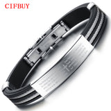 CIFBUY Casual Cross Holy Bible Silicone Bangles For Man Sporty Stainless Steel 16MM Wide Surface Simple Design Men Jewelry PH867