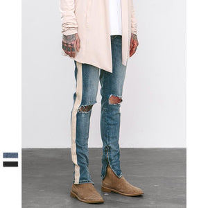 """Striped Ripped Denim 