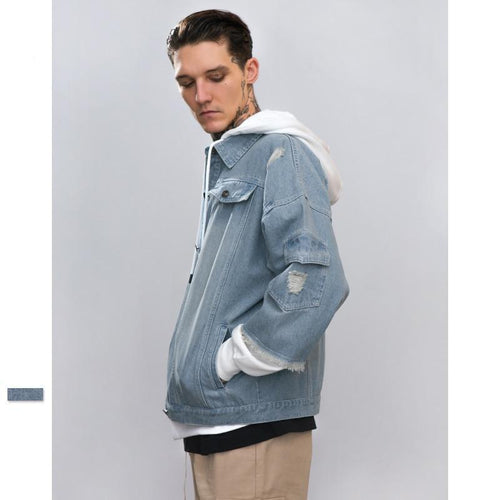 DENIM HOODED JACKET | DOUBLE LAYER