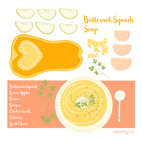 illustrated recipe for squash soup - art print