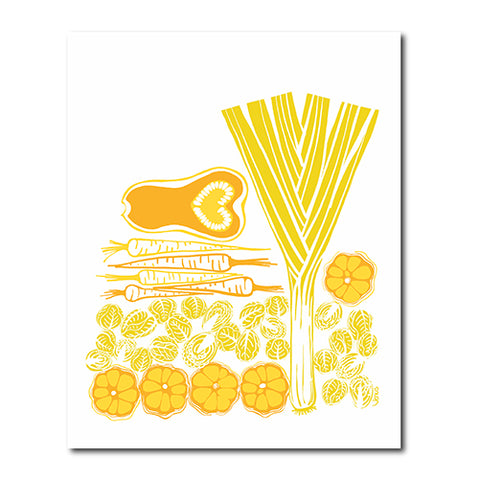 Harvest Vegetables illustration by Sandra Venus for Sweetgum Home