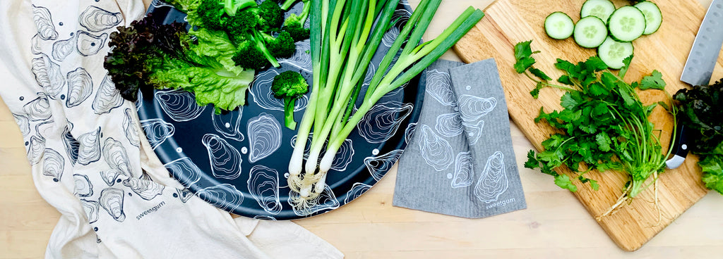 Sweetgum collection of eco-friendly kitchen linens and serving trays for your kitchen
