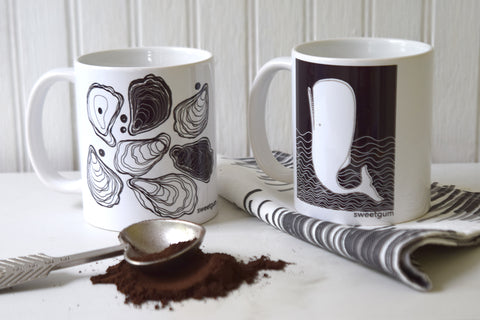 Oyster and Moby Dick mugs