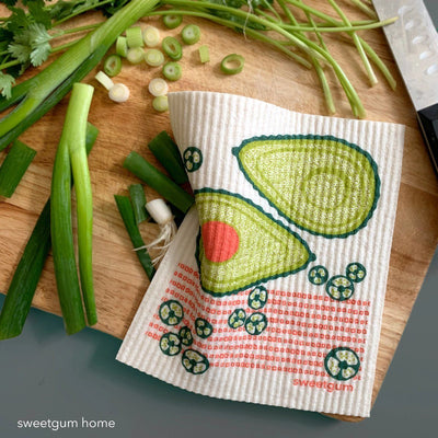 "Avocado Swedish Dishcloth | Green/ Coral | 8"" x 6.75"" 