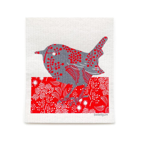 "Bird Swedish Dishcloth | Black / Red | 8"" x 6.75"" 
