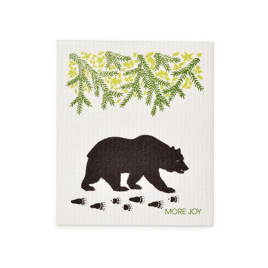"Black Bear Swedish Dishcloth | Brown / Green | 8"" x 6.75"" 
