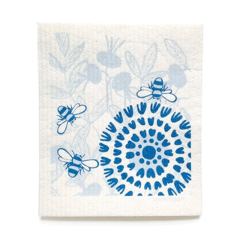 "Bloom in Blue Swedish Dishcloth | Blue | 8"" x 6.75"" 