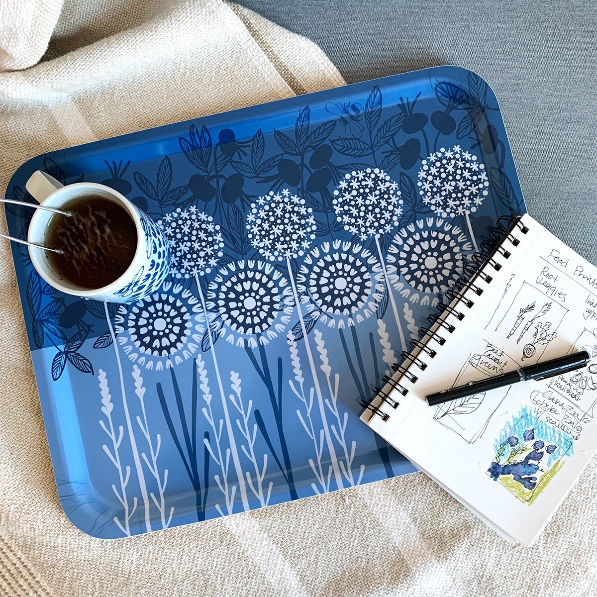 "Bloom in Blue Tray | wood and melamine | 17"" x 13"" 
