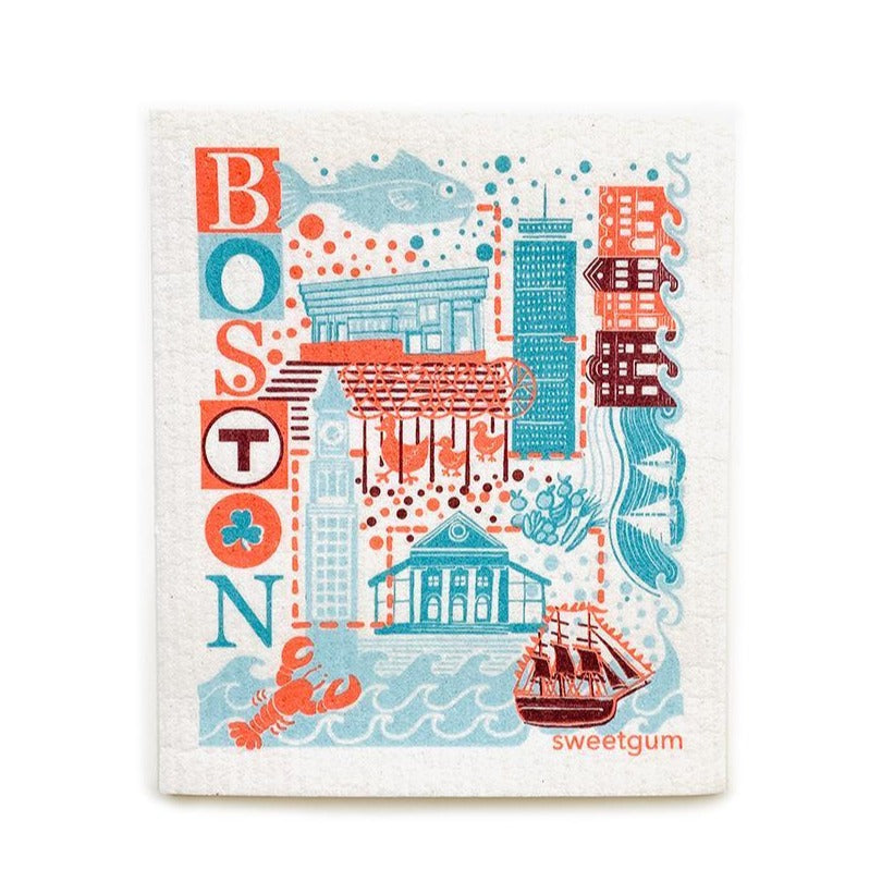"Boston Swedish Dishcloth | Blue/Coral/Teal | 8"" x 6.75"" 