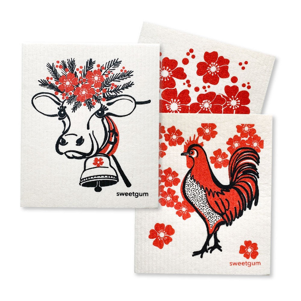 Bundle of 3 Swedish Dishcloths | Cow/Rooster/Flowers | Red Swedish Dishcloths sweetgum textiles company, LLC