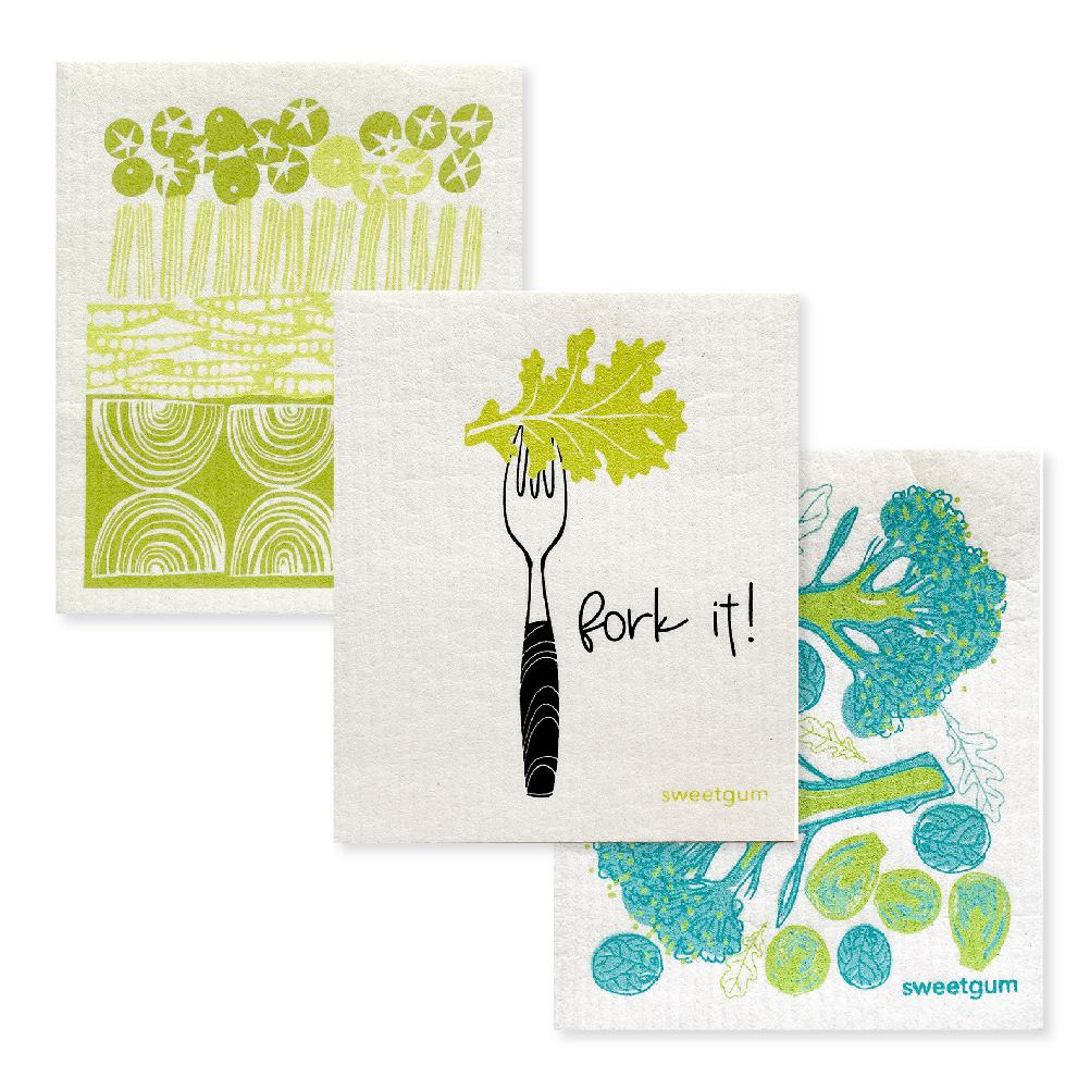 Bundle of 3 Swedish Dishcloths | Green Veggies Swedish Dishcloths sweetgum textiles company, LLC