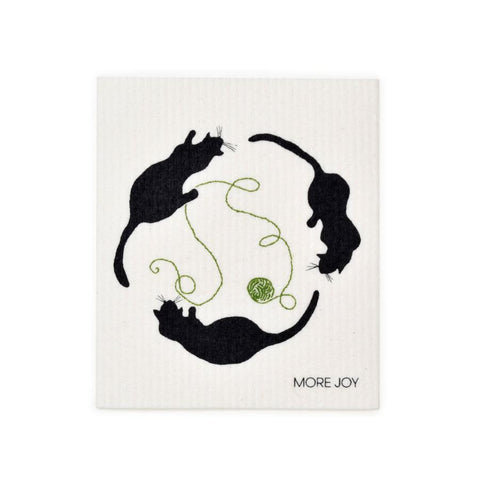 "Cats Playing Swedish Dishcloth | Black / Green | 8"" x 6.75"" 