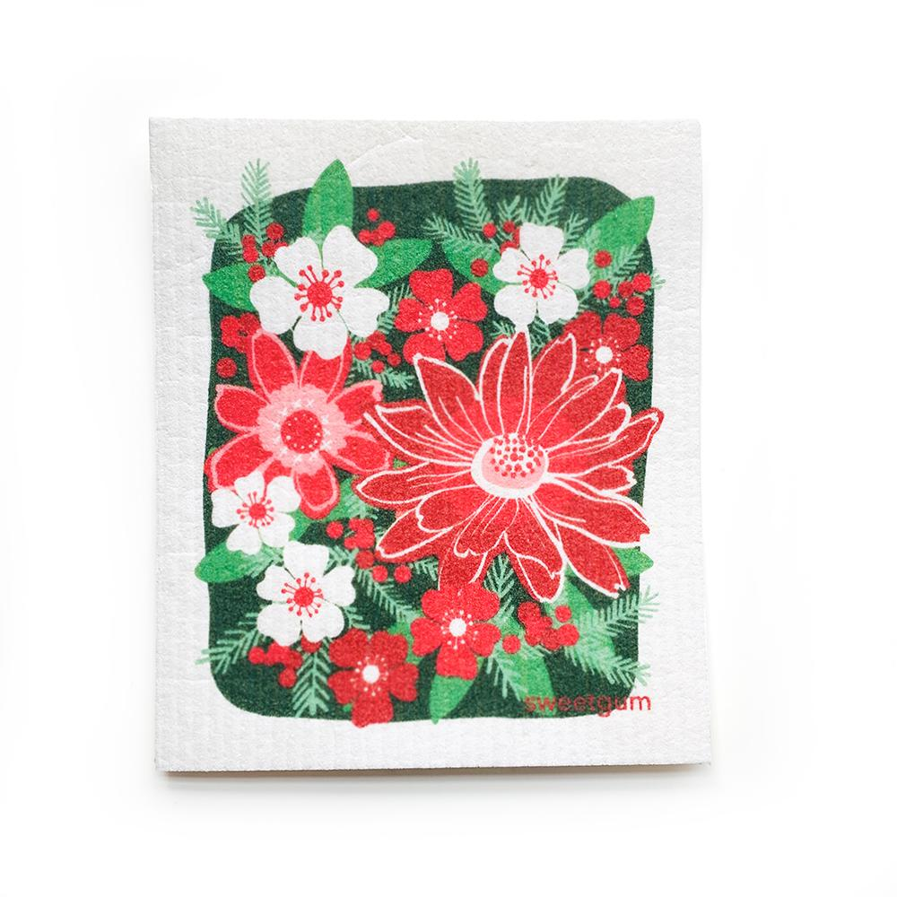 Christmas Flowers Swedish Dishcloth | Pink Red Green | Sweetgum Swedish Dishcloths sweetgum textiles company, LLC