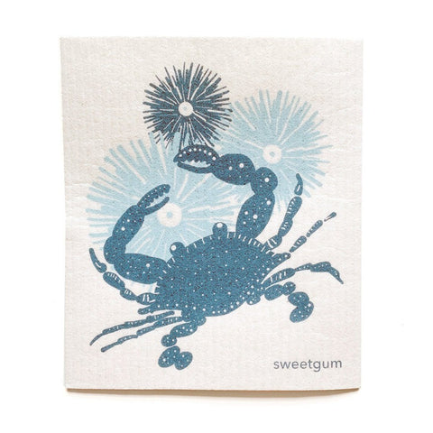 "Crab Swedish Dishcloth | Blue/ Teal | 8"" x 6.75"" 