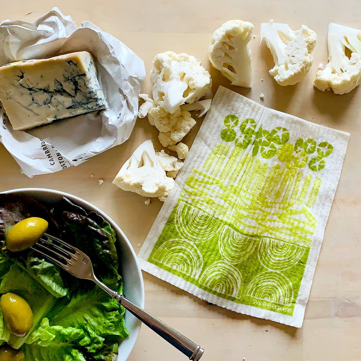 "Crudités Swedish Dishcloth | Green | 8"" x 6.75"" 