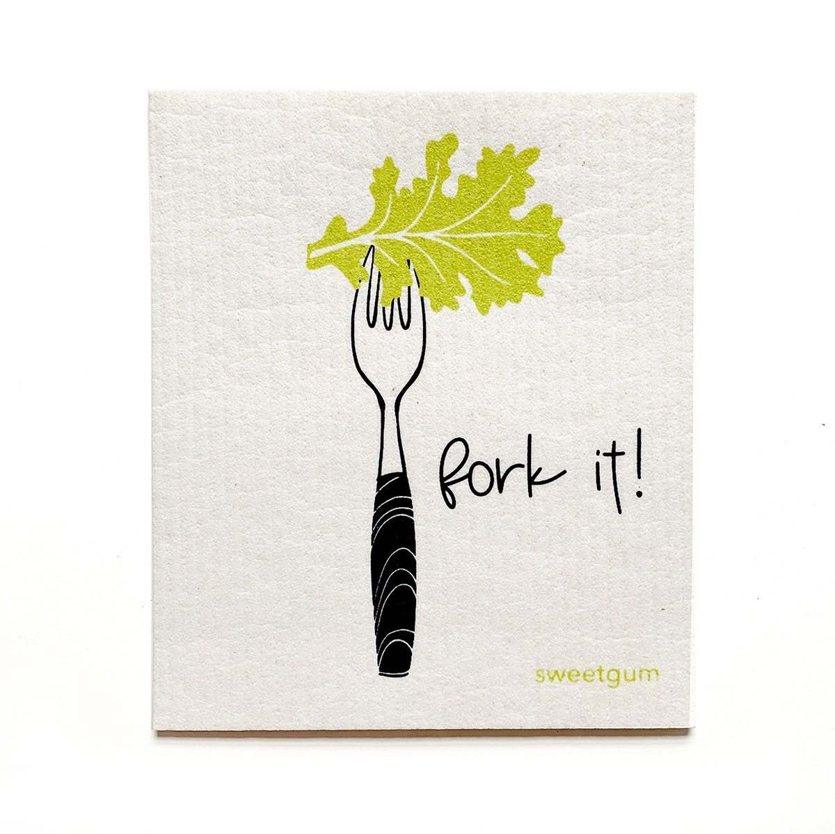 "Fork It Swedish Dishcloth | Green | 8"" x 6.75"" 