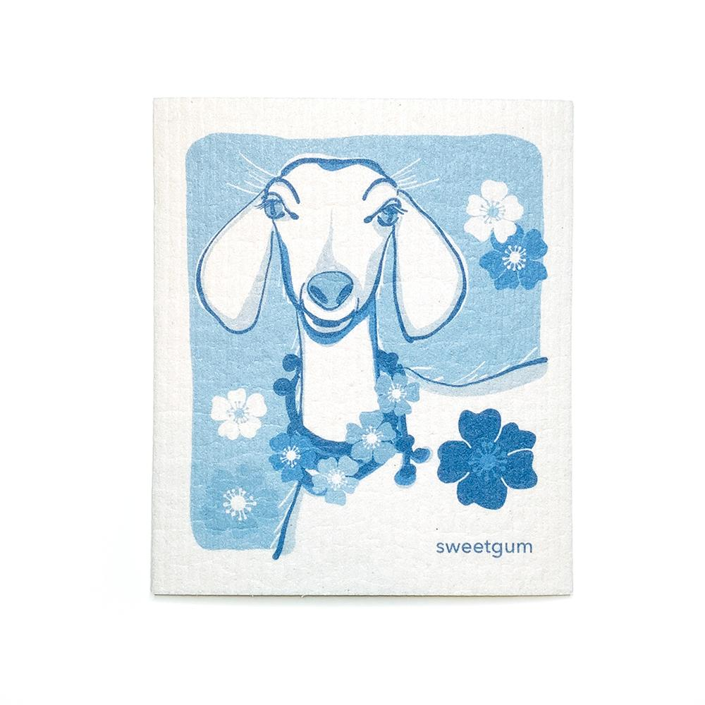 "Goat Swedish Dishcloth | Blue | 8"" x 6.75"" 