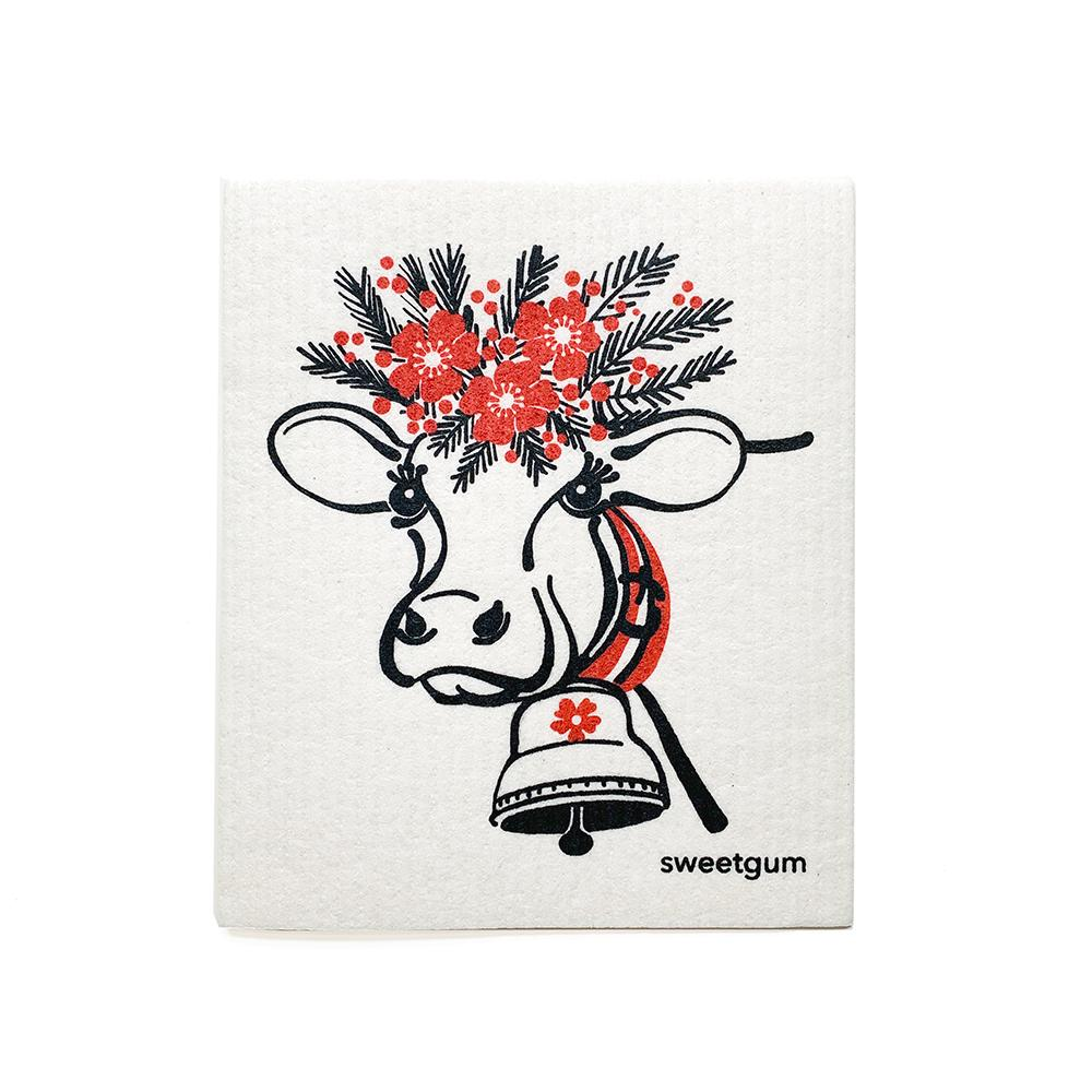 Happy Cow Swedish Dishcloth | Red/Black | Sweetgum sweetgum textiles company, LLC