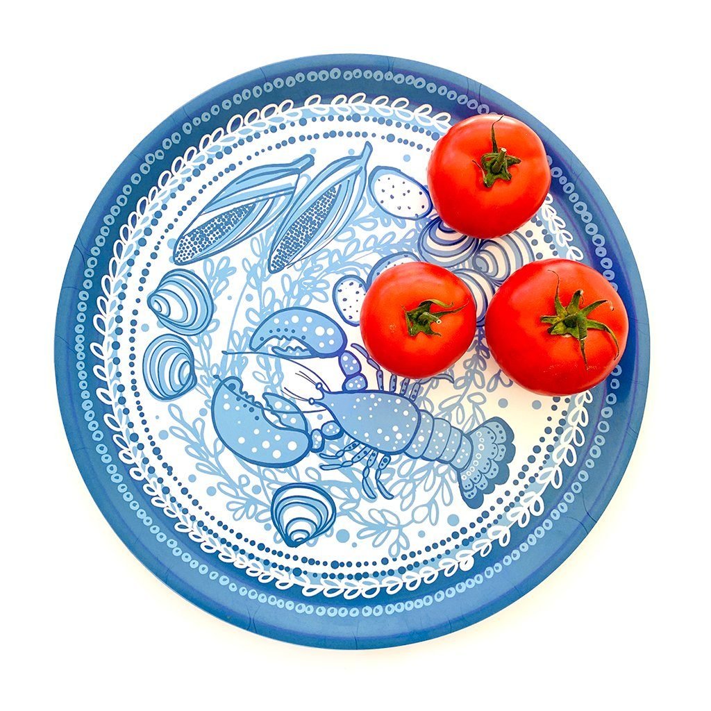 "Lobster Tray | wood and melamine | 15"" round 