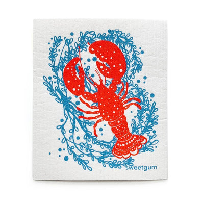 "Maine Lobster Swedish Dishcloth | Red/Blue | 8"" x 6.75"" 