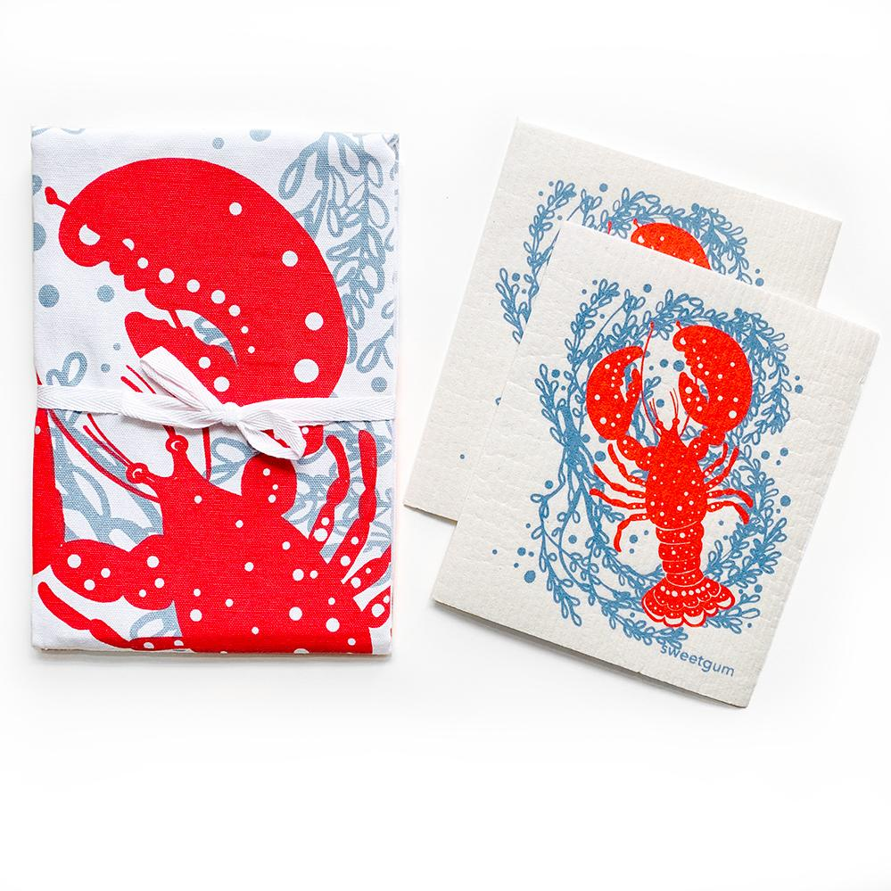 Maine Lobster Tea Towel + 2 Swedish Dishcloths Bundle Tea Towel sweetgum textiles company, LLC