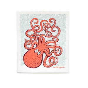 "Octopus Swedish Dishcloth | Pink/ Coral | 8"" x 6.75"" 