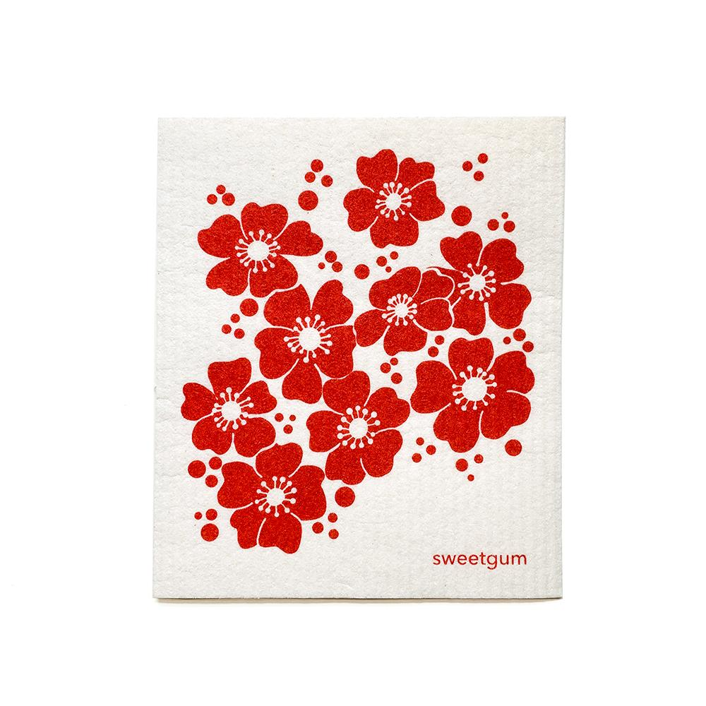 Red Flowers Swedish Dishcloth | Red | Sweetgum Swedish Dishcloths sweetgum textiles company, LLC
