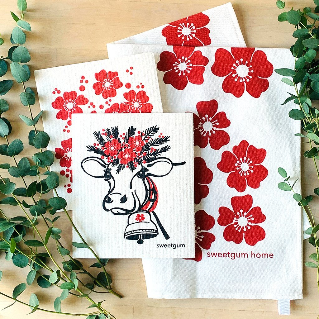 Red Flowers Tea Towel + 2 Swedish Dishcloths Bundle Tea Towel sweetgum textiles company, LLC
