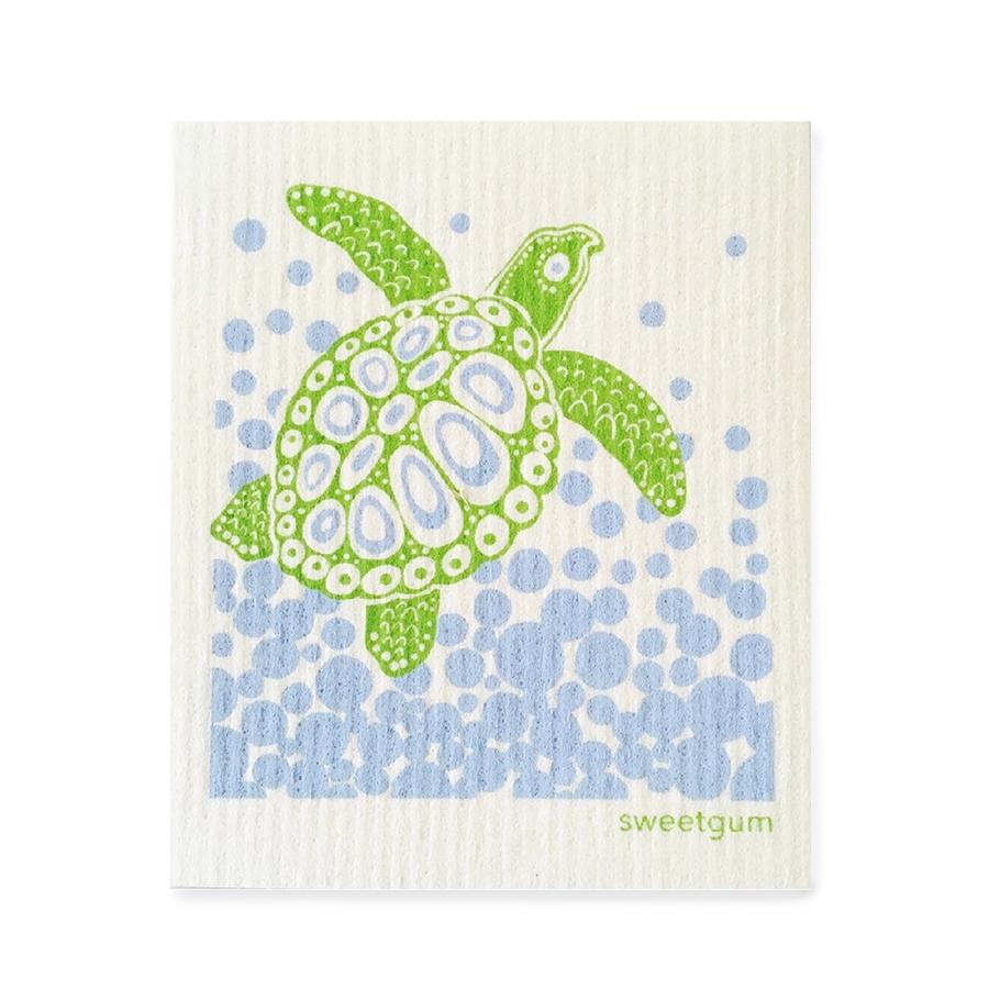 Sea Turtle Swedish Dishcloth | Blue/ Green | Sweetgum Swedish Dishcloths sweetgum textiles company, LLC