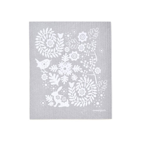 "Small Bunny Swedish Dishcloth | White on Gray | 8"" x 6.75"" 