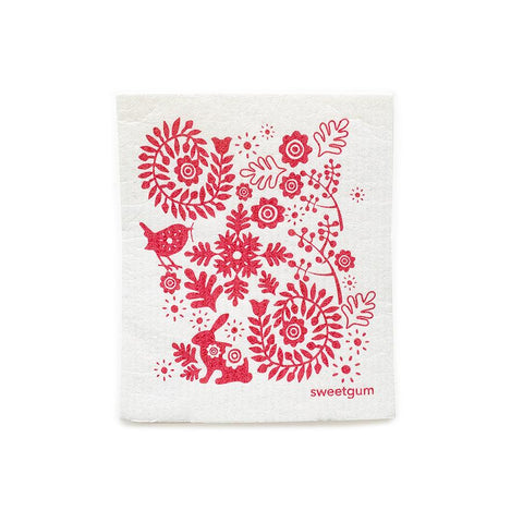 "Small Red Bunny Swedish Dishcloth | Red on White | 8"" x 6.75"" 