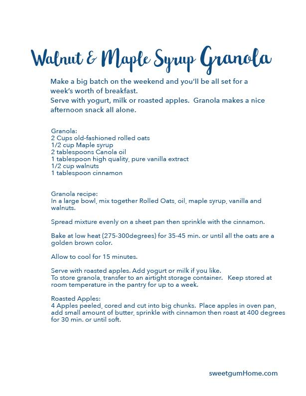 Walnut and Maple Syrup Granola recipe sweetgum textiles company, LLC