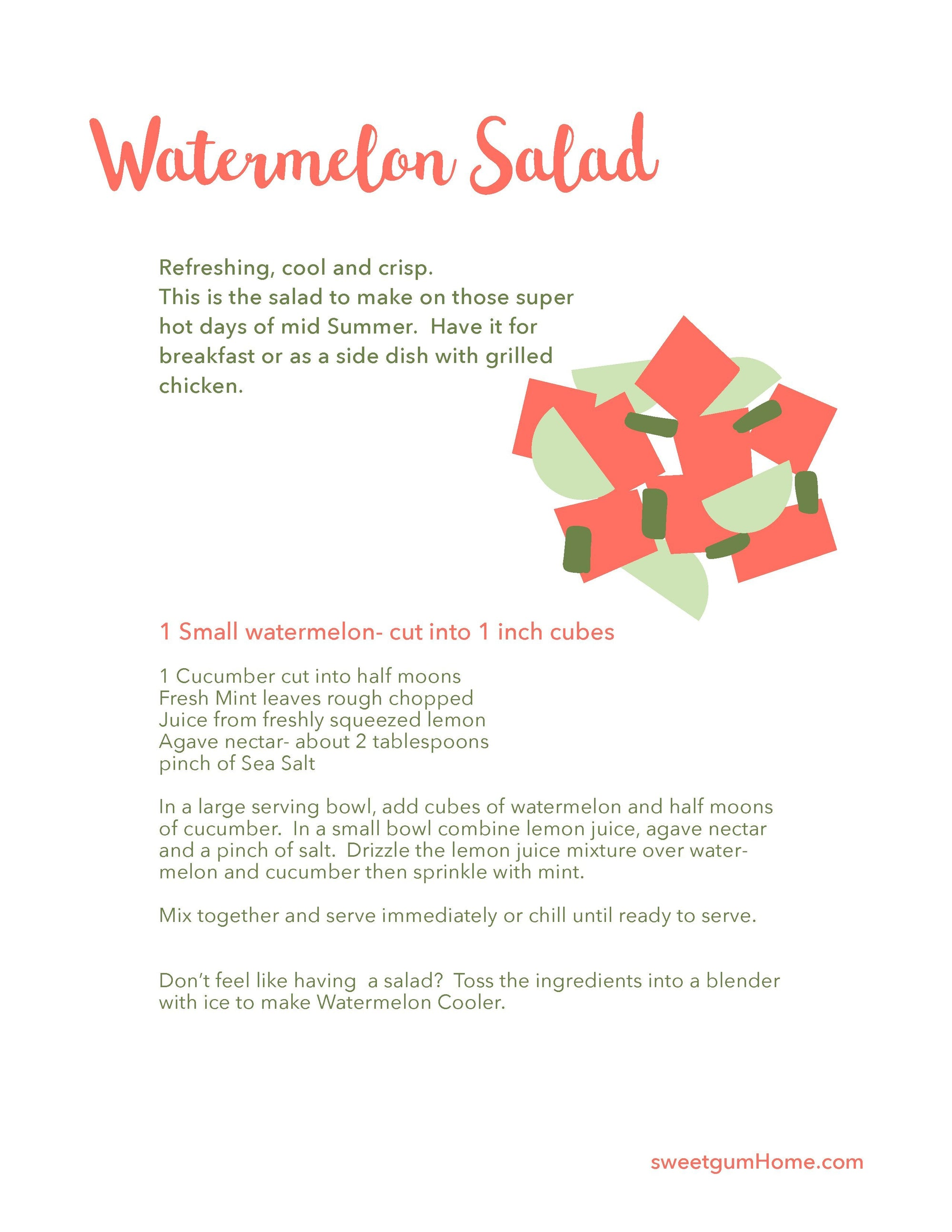 Watermelon Salad Recipe sweetgum textiles company, LLC