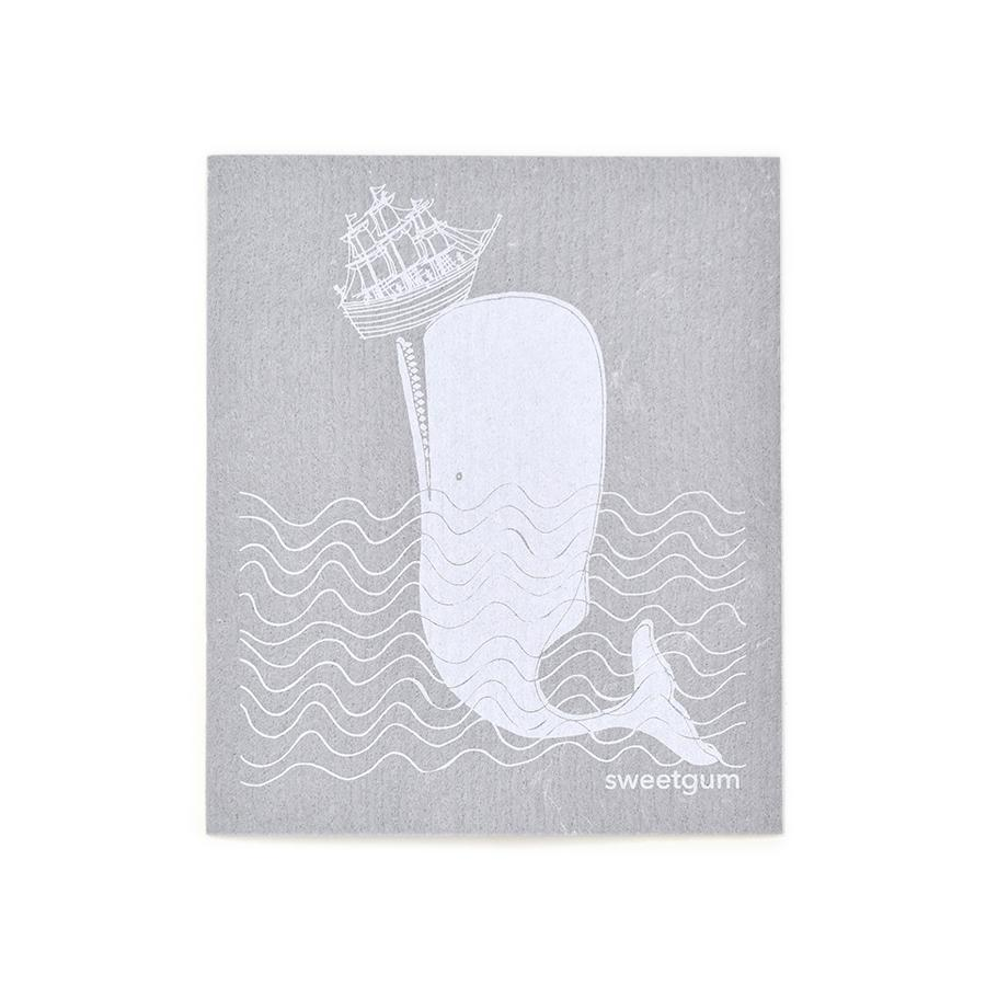 "Whale Swedish Dishcloth | White on Gray | 8"" x 6.75"" 