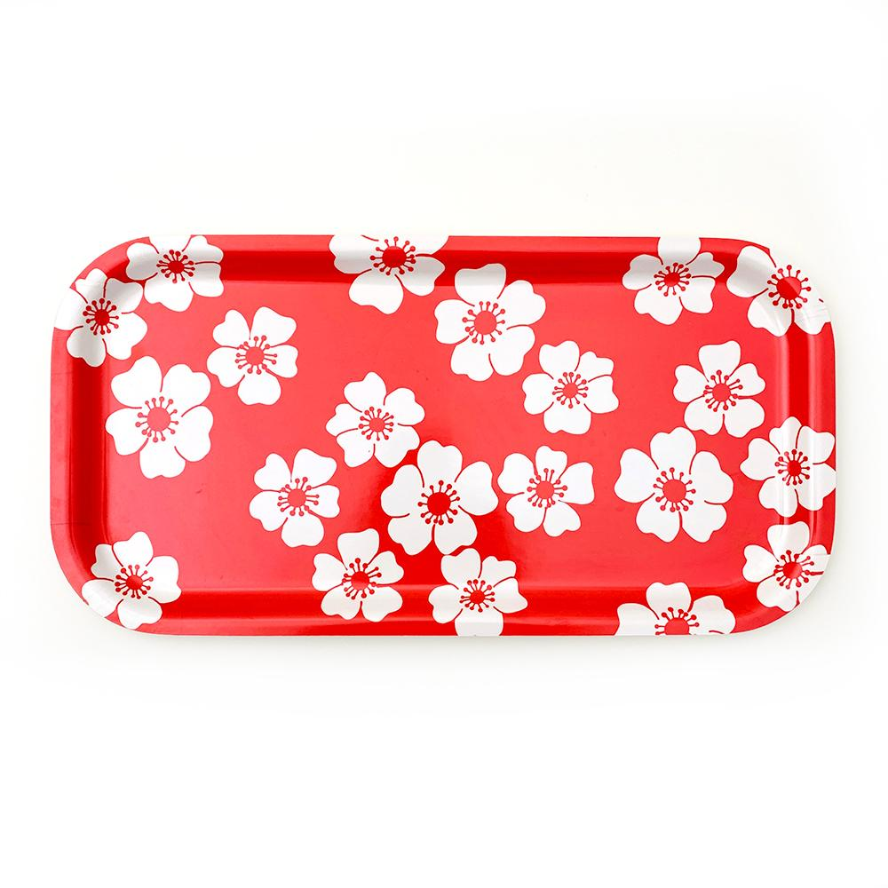 "White Flowers Tray | wood and melamine | 17"" x 9"" 