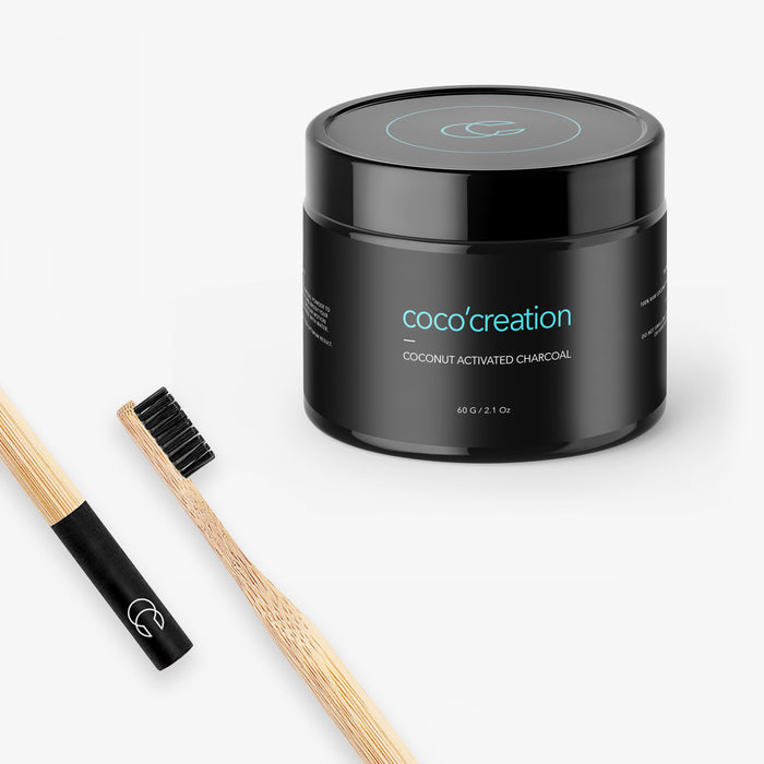 Activated Charcoal Teeth Whitening Powder - Bamboo Toothbrush - Coco'creation