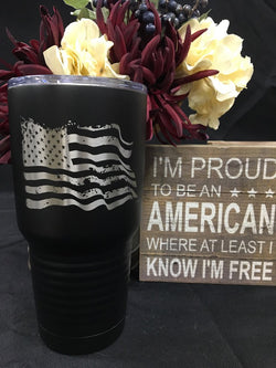 Wavy Tattered Flag 30oz Tumbler