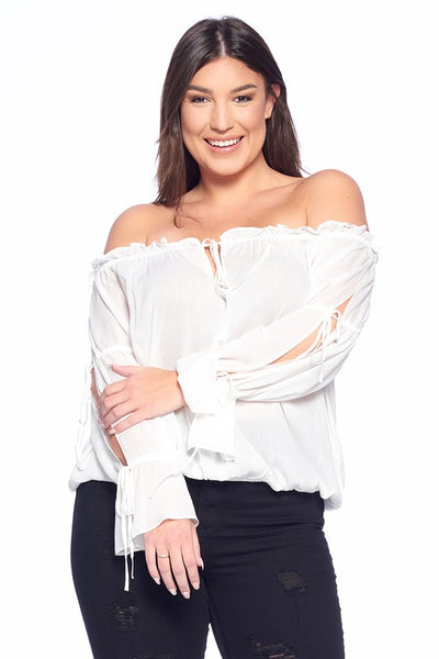 Solid Off Shoulder Tie Sleeve Top