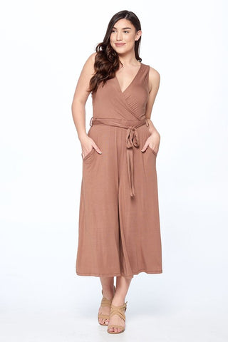 Solid Wide Leg Midi Jumpsuit