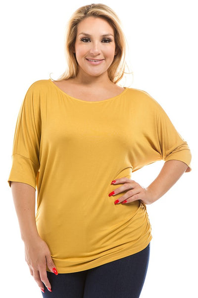 3/4 Dolman Sleeve Plus Size Top