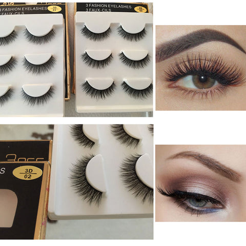 3 Pairs of Natural Mink Strips Thick Cross Eyelashes