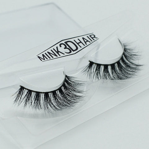 1 Pair Handmade Mink Thick Crisscross Messy Natural Lashes