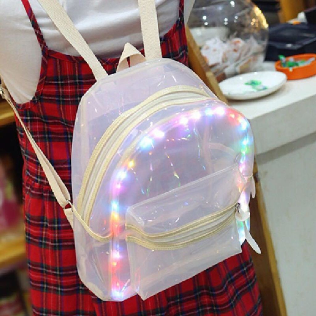 Buy Beach Led Light Transparent Backpack Girls Ladies Bookbag For Teenagers In Our Online Shop Led Bags