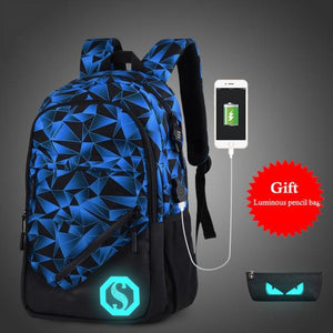 Buy Glowing School Bag Usb Charger Teenager Backpack With The Best Price In Our On Line Shop Black Blue 1