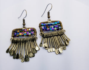 Bronze, multi colored beaded earrings with cascading hammered embellisments - Unique earrings made of mostly bronze metal with tiered, hammered and cascading embellishments. They are adorned with multi colored hematite square beading.