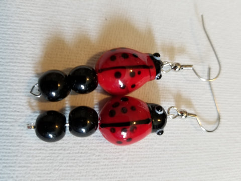 Glass Beaded Ladybug Handmade Earrings - Meraki by Misty