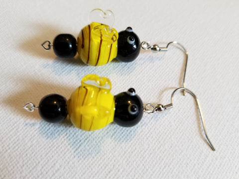 Glass Beaded Bumblebee Handmade Earrings - Meraki by Misty