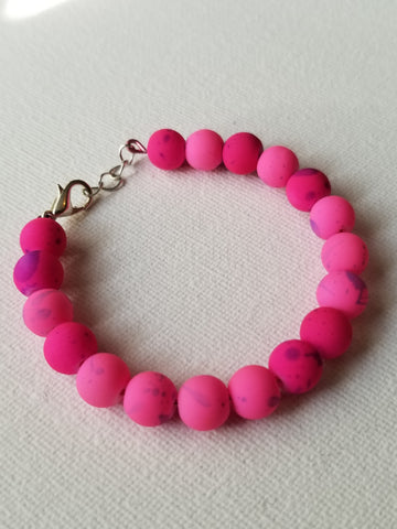 Multi Pink Shaded Beaded Kids Handmade Bracelet - Meraki by Misty